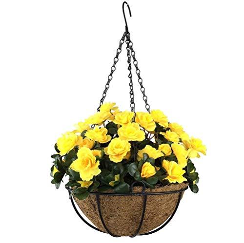 Yosposs Fleurs Artificielles à suspendre paniers Kz9524-w770 extérieur artificielle Rouge Azalée Bush Fleur Patio pelouse Jardin Panier à suspendre avec chaîne Pot de fleurs, Jaune extérieur/intérieur Pour Maison/décoration de jardin