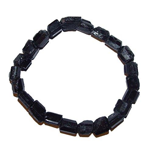 Janni-Shop-Armbänder Turmalin schwarz Schörl Armband unbehandelte Rohsteine ca. 10-12 mm Edelstein elastisch