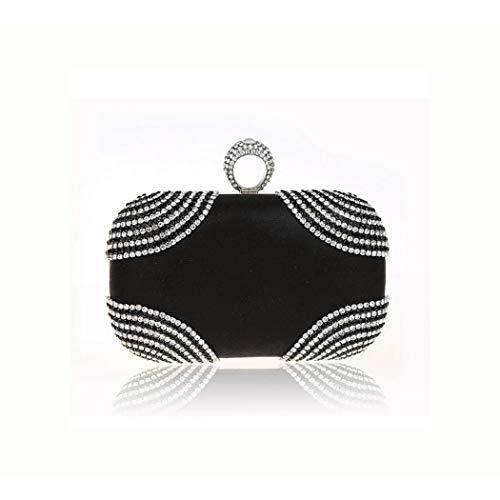 A-hyt diseño cómodo Bolso de la Cadena de Embrague Hecha a Mano de Diamantes para Mujer Moda (Color : Black, Size : 17 * 5 * 10)