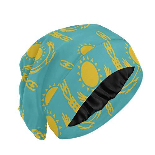 Magnesis Gorro de dormir con forro de satén de la bandera de Kazajstán para las mujeres