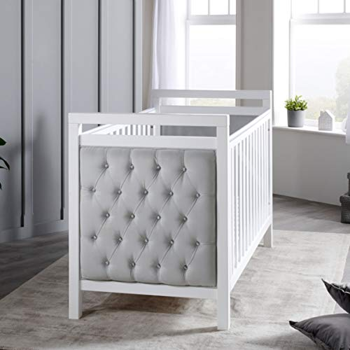 Babymore Velvet Deluxe Baby Cot Bed   5cm Thick Solid Wood   Converts into...