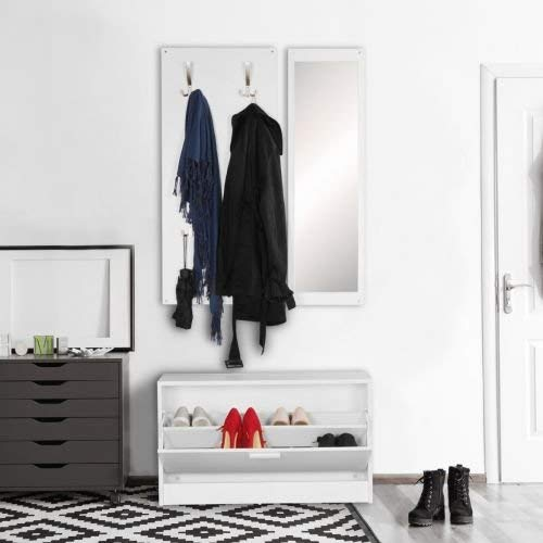 Wohnling Jana, wandkapstok, met spiegel en schoenenkast spaanplaat, wit