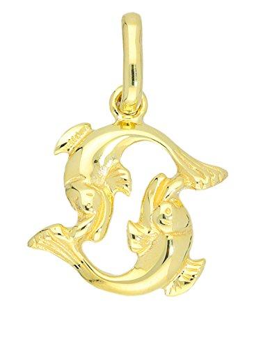 MyGold Fische Anhänger (Ohne Kette) Gelbgold 585 Gold (14 Karat) Massiv 18mm x 11mm Klein Sternzeichen Goldanhänger Majestico A-06006-G401-Fis