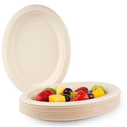 HAAGO 100 Piatti Ovali Biodegradabili in Canna da Zucchero Ecologici e Compostabili, 26 cm