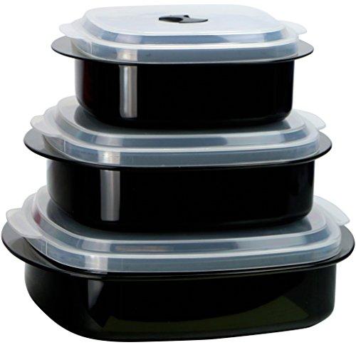 Calypso Basics por Reston Lloyd Utensilios de cocina para microondas, 6 piezas, vaporera y almacenamiento, color negro, Negro, 1