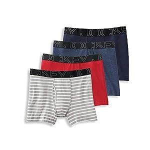 Jockey Men's Underwear ActiveBlend Boxer Brief - 4 Pack, Grey Stripe/Rough Blue/Racing Red/Navy Heather, L