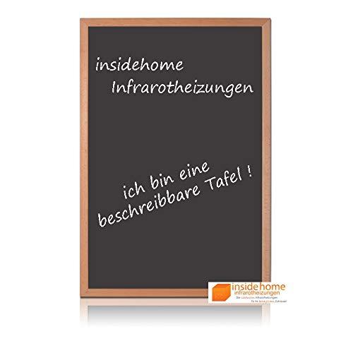 insidehome | Infrarotheizung Tafel CLASSIC | Vollholz - Rahmen Buche 30mm | hochwertige Glasheizung sandgestrahlt | deutscher Hersteller | 210 Watt (60x40x2,5 cm)