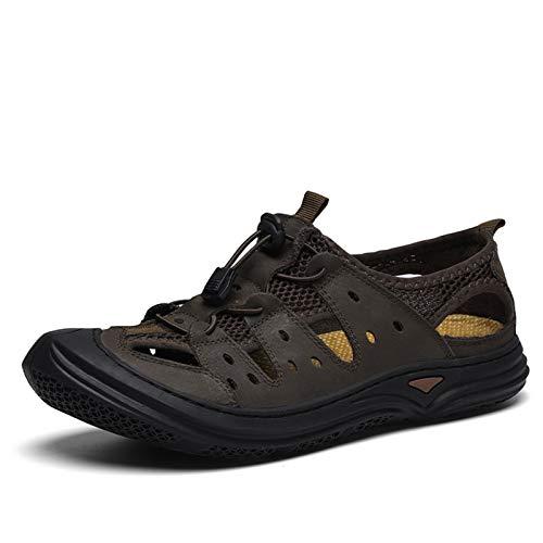 ZH~K Sandalias de Verano Flexibles para Hombres Tapón de Cuero Genuino Grifo Ligero Resistente a los Zapatos de Cordones de Bungee de Costura Superior Colisión Evitación Toe 38-45