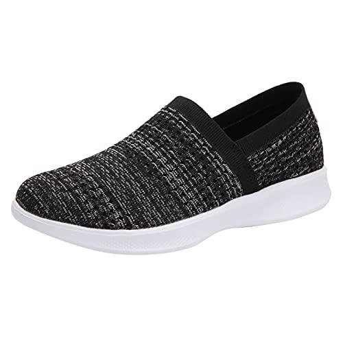 Zapatillas Mujer Running Sneakers Cordones Zapatos de Deportivas Transpirables Zapatillas De Deporte Ligeras(M23_Black,39)