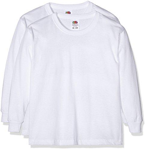 Fruit of the Loom 0610072 - Camiseta de manga larga para niños, lot de 2, color Blanco, 5-6 años (116 cm)