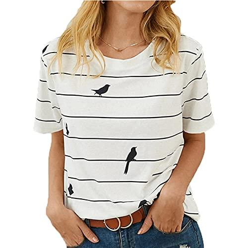 Camiseta Informal Holgada de Gran tamaño con Cuello Redondo y Manga Corta con Estampado de Gato para Mujer de Primavera y Verano Camiseta Fresca y Dulce para Mujer