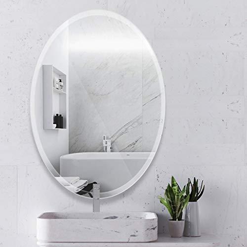 Modern Beveled Oval Wall Mirror, Rounded Edge,Frameless Wall Mirror for Bathroom, Vanity, -