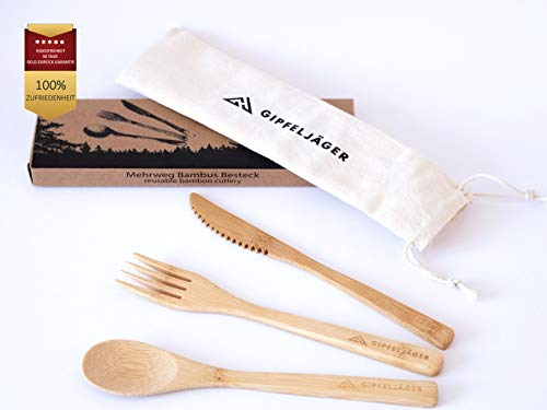 Gipfeljäger® – Juego de cubiertos de bambú, 4 piezas, cubiertos de viaje...