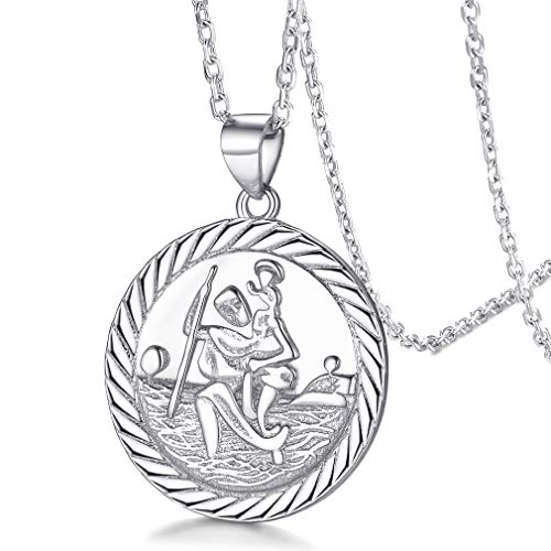 925 Sterling Silver St Christopher Necklace for Women/Men Protection Medal Car Charm with 45 cm Chain Traveler's Talisman Pendant Safe Flight Jewellery