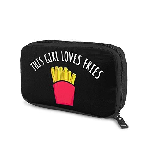 This Girl Loves Fries Portable Data Line Storage Bag Electronic Organizer Bag