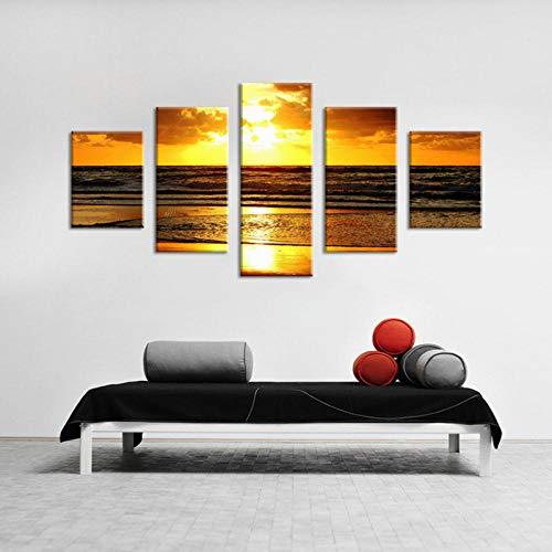 Wydlb Zonsopgang landschap schilderkunst schilderkunst, 5 panelen, gouden strand, avonds, decoratie voor bar, woonkamer, 30 x 40 cm, 30 x 60 cm, 30 x 80 cm, geen lijst
