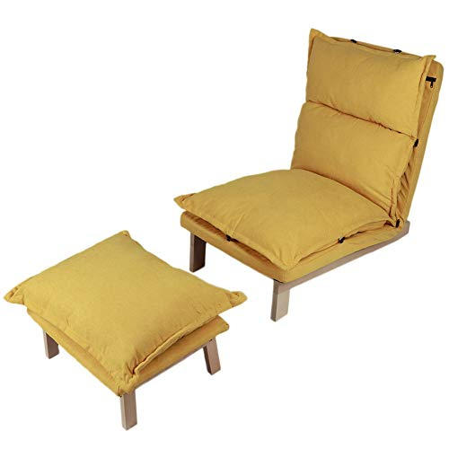 Ejoyous Sofá reclinable Individual de Estilo japonés, sillón reclinable con reposapiés, sillón Ajustable y Plegable, sofá reclinable Individual para Ver películas, Descansar, Leer Libros(Amarillo)