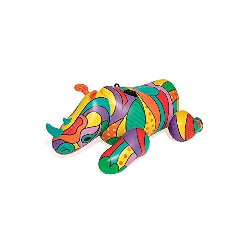 Bestway POP Art Rhino opblaasbaar zwemdier met extra veel ruimte, 198 x 117 x 84 cm