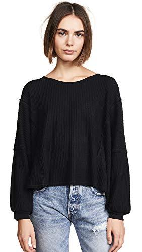 Free People Women's Lover Me Thermal Sweater, Black, Medium