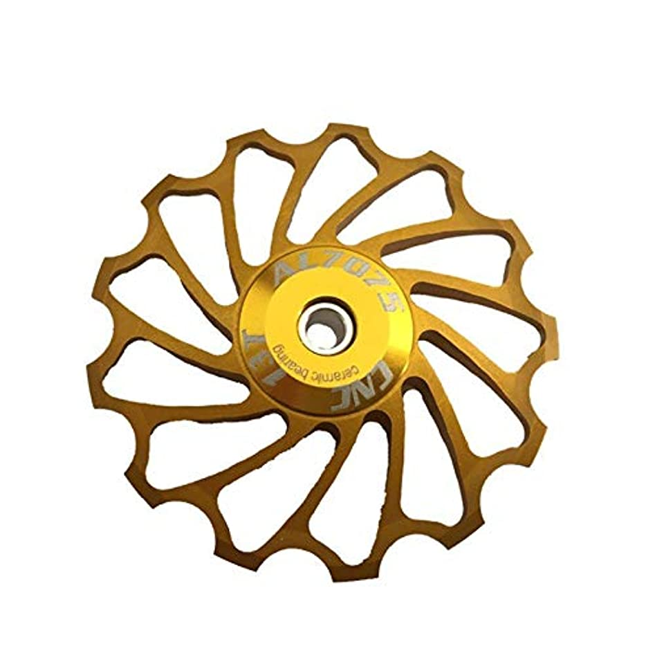 に対応民主主義見えるPropenary - Cycling bike ceramics Jockey Wheel Rear Derailleur Pulley 13T 7075 Aluminum alloy bicycle guide pulley bearing bicycle parts [ Gold ]