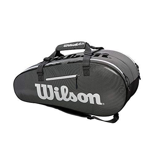 WILSON Tennistasche Tour mit 2 Fächern, Super Tour 2 Compartment Large, schwarz/grau