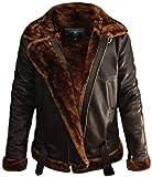 So-Shway Leather Flying Jacket Herren - Leather Bomber Jacket Herren - Aviator Leather Pilot Jacket Schaffelljacken für Herren (Braun, 2XL)