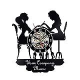 FDGFDG Reloj de Pared ized DIY Nail Salon Nombre Reloj de Vinilo Reloj de Pared...