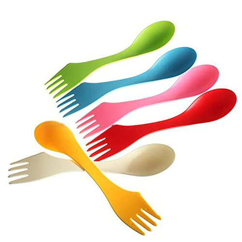 ESTone 6Pcs/Set 3 in 1 Spoon Fork Knife Cutlery Set Mixed Sweet Candy Color Portable Camping Hiking Utensils Spork Multifunctional Tableware