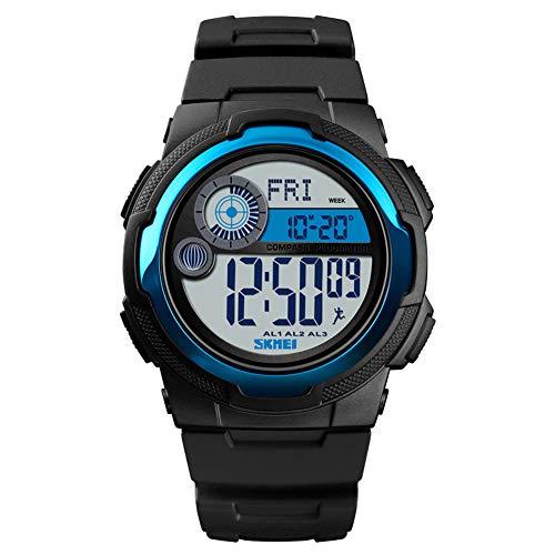 LGPNB Reloj Deportivo al Aire Libre multifunción brújula Reloj de Aventura Impermeable para Hombres y Mujeres Fitness Moda Estudiante Reloj electrónico-Lightblue