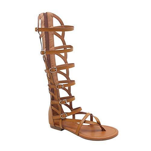 Gtagain Sandalias Zapatos Planos Mujeres - Damas Rodilla Alta Correa de Tobillo Punta Abierta Romano Gladiador Sandalias Recorte Botas Informal Playa Vacaciones Verano