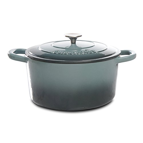 Crock Pot 69143.02 Artisan 7 Quart Enameled Cast Iron Round Dutch Oven, Slate Gray