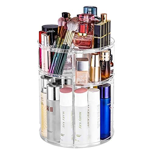 Makeup Organizer, 360 Degree Rotating DIY Adjustable Cosmetic Storage Display Case with 6 Layers Large Capacity JENIGH JEWEL, Transparent