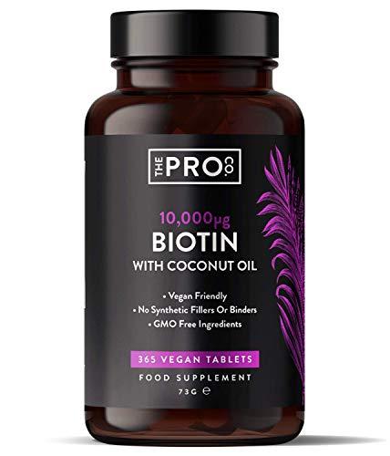 Biotina 10,000 mcg con aceite de coco - 365 comprimidos veganos (suministro para 1 año) - Biotina para el crecimiento del cabello - Vitaminas para el cabello y la piel - Hecho por The Pro Co.