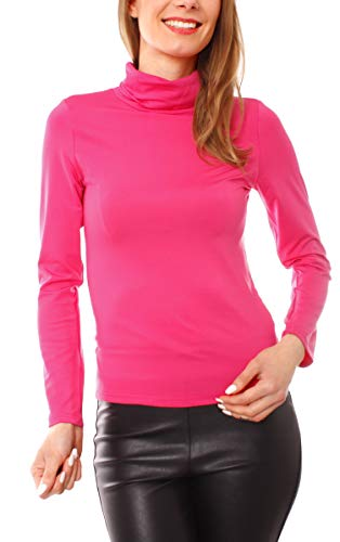 Easy Young Fashion Damen Thermo Microfaser Rollkragen Langarm Shirt Uni Pink S 36 (M)