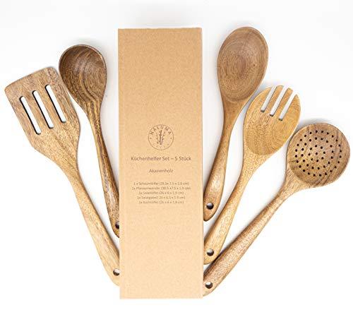 PREMIUM Küchenutensilien Set - 5-teilig aus hochwertigem Akazienholz, keine Kratzer mehr, Hitzebeständig, Kochbesteck Set, Höchste Qualität, nachhaltig, Holzkochlöffel Salatbesteck, Schaumlöffel