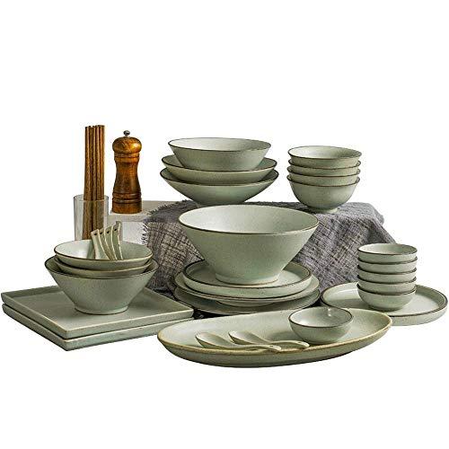 GAXQFEI Juego de vajilla de 36 piezas de cerámica de aspecto vintage, vajilla de porcelana japonesa con cuencos, plato, cuchara, regalo para amigos y hogar