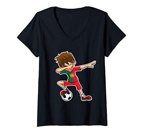 Damen Dabbing Soccer Boy Portugal Trikot, Portugiesisch Kinder T-Shirt mit V-Ausschnitt