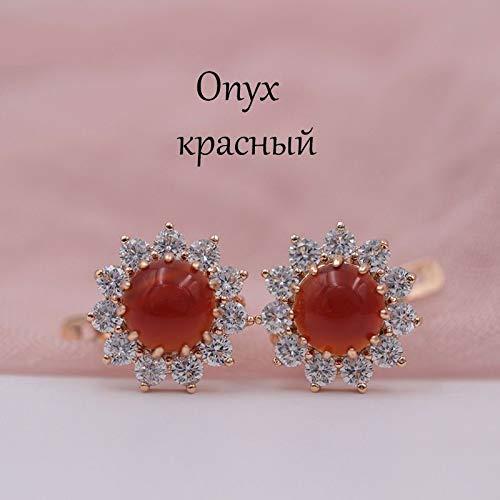 CHQSMZ Pendiente Mujer Multicolor India Boda joyería Girasol ónix Pendientes de Piedra Natural 585 Pendientes Colgantes de Oro Rosa