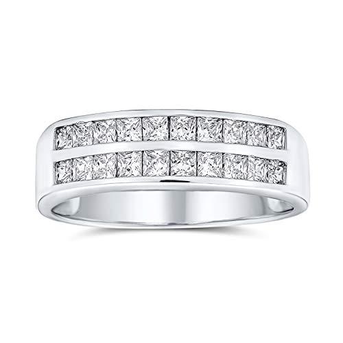 Bling Jewelry Dos Filas cúbica Zirconia Canal Conjunto Princesa Corte AAA CZ Aniversario Alianza Alianza Anillo para mujeres925 Plata de Ley