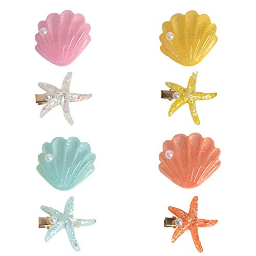 yalansmaiP 4 Packs Shell Pearl Starfish Hair Clip Set Fashion Sweet Beach Hair Accessories Acrylic Resin Alligator Hair Clips Resin Starfish Shell Faux Pearl Inlaid Hairpins
