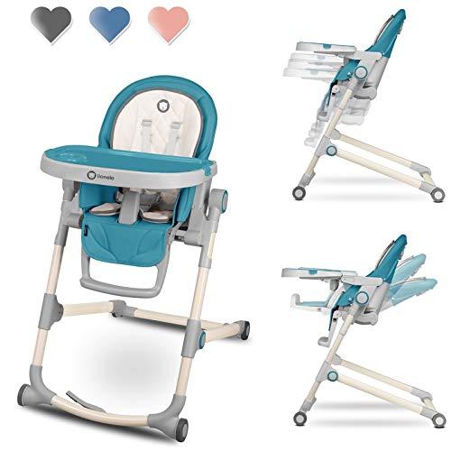 Lionelo Cora Hochstuhl Baby, Kinder Hochstuhl bis 15 kg, höhenverstellbar, regulierbare Rückenlehne, doppeltes Tablett, Einsatz für Kleinkinder (Blau)