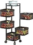 Almacenamiento Rack Cocina Vegetal Rack Carrito de la cocina con almacenamiento, un estante de almacenamiento de múltiples capas de piso de 360 grados cuadrado de 360 grados para almacenamiento de