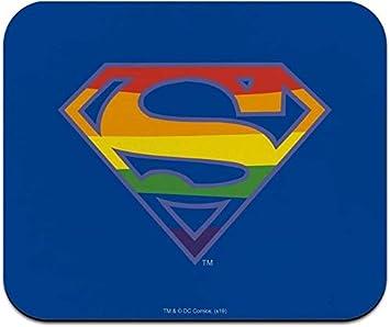 Alfombrilla de ratón fina de perfil bajo con logotipo de Superman Rainbow Shield