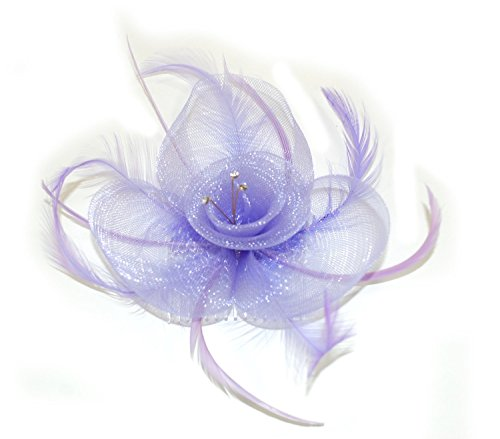 crysta innovations REF 4321 (lilas) coloré résille et plume centre cristal fascinateur sur peigne transparent