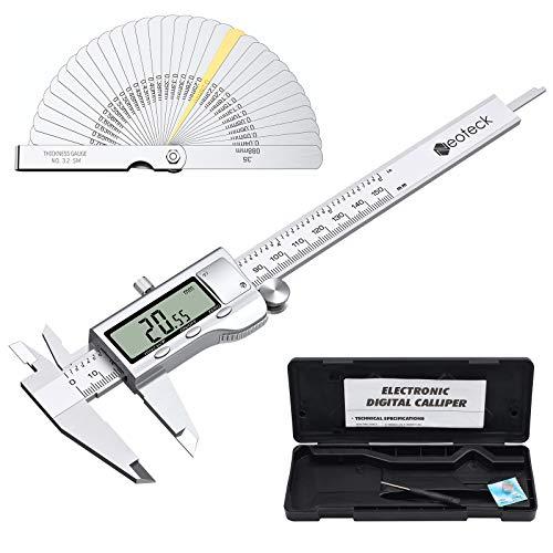 Neoteck Calibre Digital 0-150mm/6 Pulgada con Calibrador de Espesor Acero Inoxitable Pie de Rey Calibrador Electrónico mm/inch/F con Gran Pantalla LCD para Longitud Ancho Profundidad Diámetro