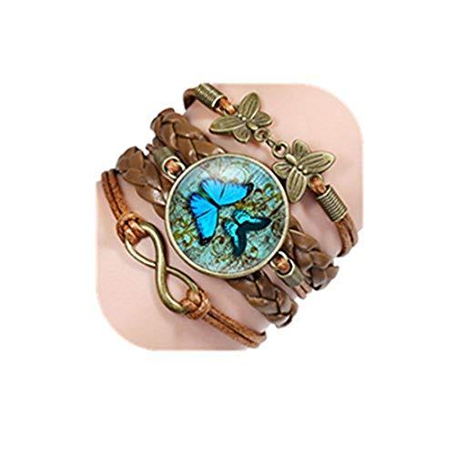 Youkeshan Pulsera de mariposa vintage con cabujón de cristal para mujer