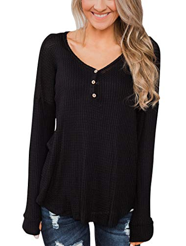 Minthunter Women's Long Sleeve Henley T-Shirt Casual Tops with Buttons V Neck Tunics Black