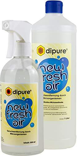 dipure® New Fresh Air Geruchsentferner mit Mikroorganismen - Geruchsneutralisierer/Geruchsvernichter gegen Rauch-Geruch, Nikotin-Geruch (Nikotinentferner), Moder-Geruch uvm.