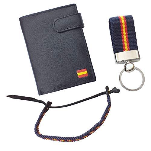 Tiendas LGP - Cartera Billetero Monedero, Bandera de España, Caballero -Piel Autentica, Color Negro + Llavero + Pulsera