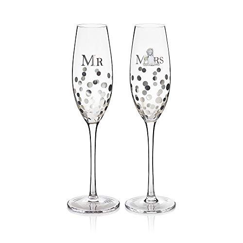 AGN01003 Me to You Tatty Teddy Mr & Mrs - Juego de copas de champán